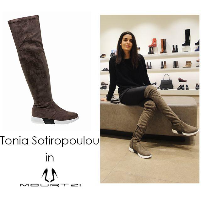 ΤΟΝΙΑ ΣΩΤΗΡΟΠΟΥΛΟΥ Tonia Sotiropoulou in Mourtzi shoes #mourtzi #boots #overthekneeboots #mourtziermou www.mourtzi.com