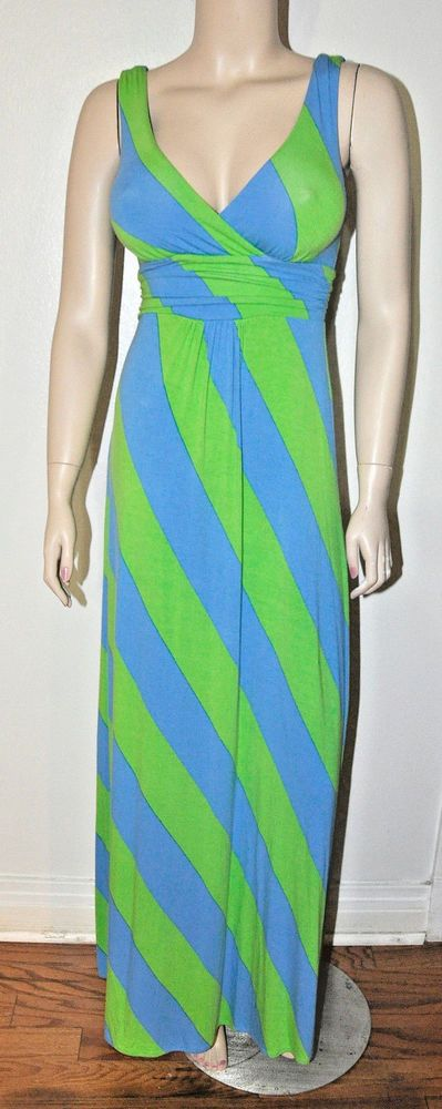 Pretty Lily Pulizer Blue/green striped maxi low-cut dress Xs Long dress worn  #LillyPulitzer #MaxiDresslongdress #PartyCocktail