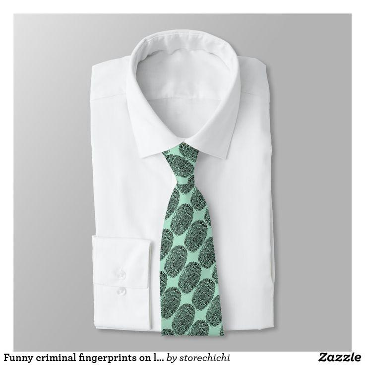 Funny criminal fingerprints on light green neck tie