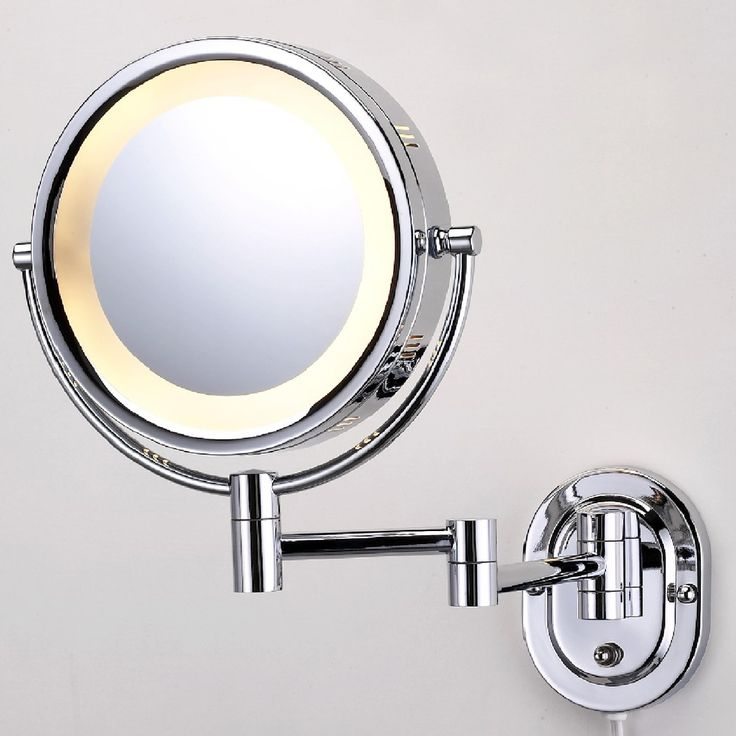 "See All Industries HLCSA895 Wall Mounted Make-up Mirror; 5x on one side, 1x on other.  full extension 14""; 8"" diameter; lighted"
