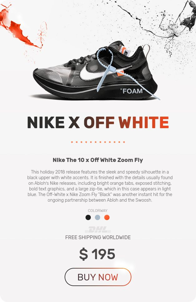 Nike Off White The 10 OW Zoom Fly Black shoes в 2019 г