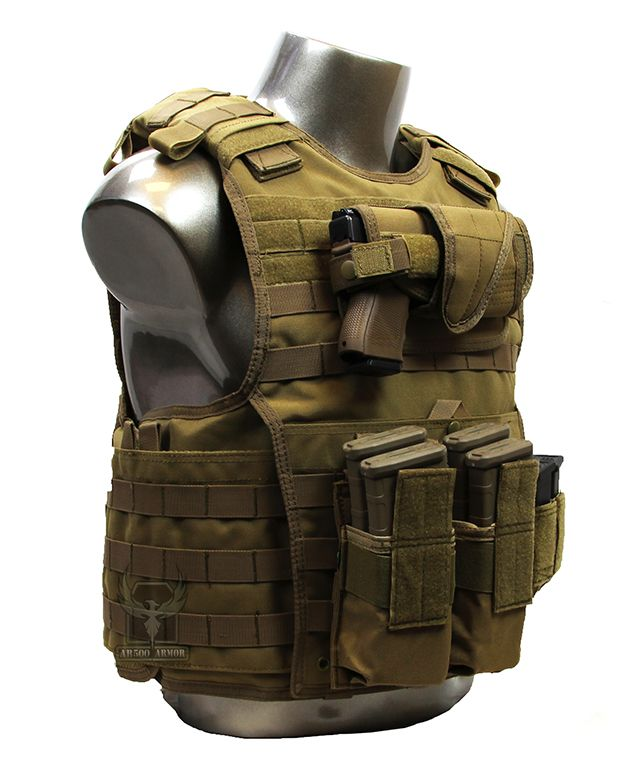 "AR500 Armor XL Carrier w/ Armor & Pouches - Coyote (X-Large 11"" x 14"" Plates)"