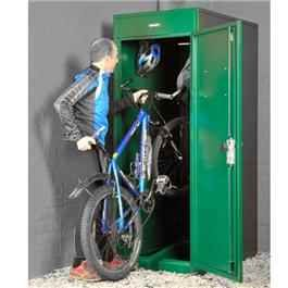 The Asgard Vertical Bike Locker is a fantastic space saving bike store. By storing the bike on its back wheel you use less floor space, freeing up other spaces such as garages or sheds. This strong, weatherproof storage unit has a easy, wide access guide ramp and a wheel retaining clamp to make it easier to fit and store your bike vertically.