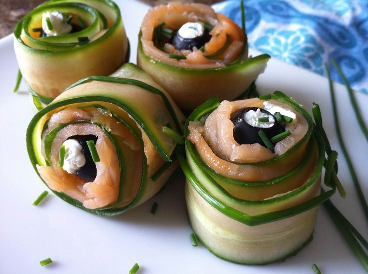 "These ""Smoked Salmon and Veggie Pinwheels"" are satisfying, skinny snacks. They are a low-carb treat inspired by the classic bagel and cream cheese!"