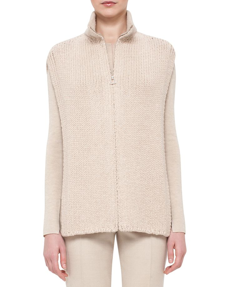 Mock-Neck Zip-Front Cashmere Tabard Vest, Steppe, Women's, Size: 6 - Akris