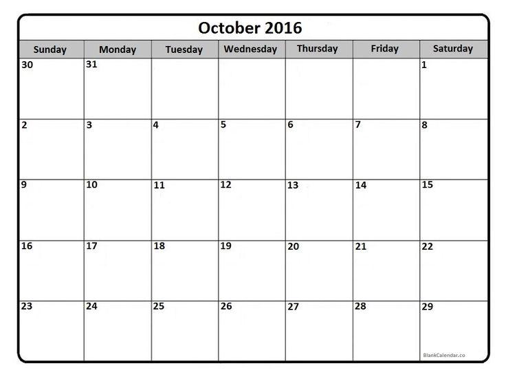 October 2016 calendar printout | calendars | Pinterest | 2016 Calendar ...