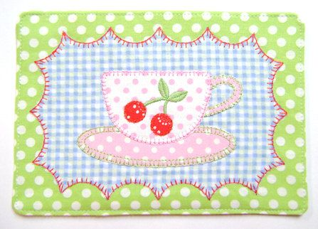 Machine Embroidery Design ITH In The Hoop Applique Cheery Cherries Mug Rug Instant Download 4040 - 2 Sizes