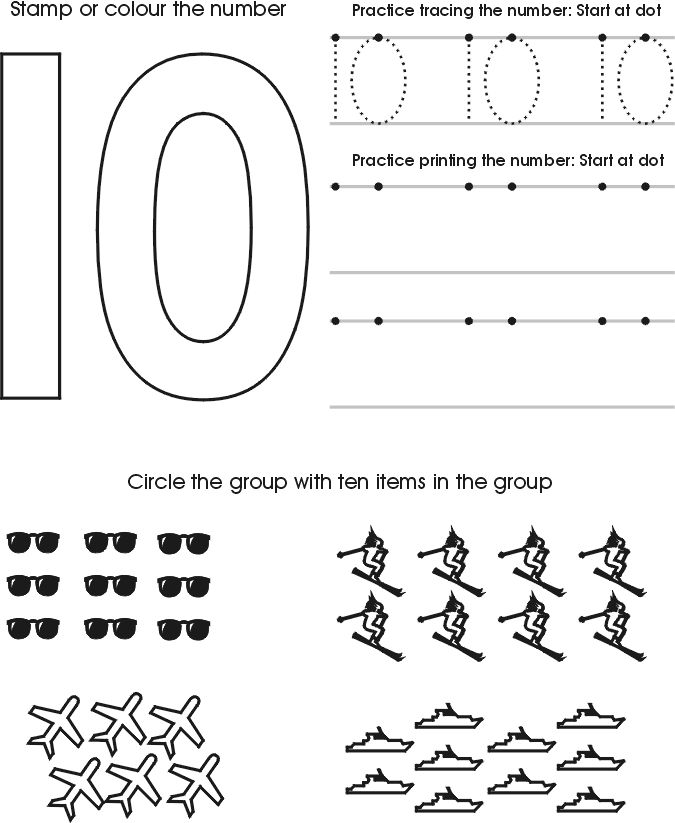 Printables Learning Numbers Worksheets 1000 ideas about number 10 on pinterest 9 3 and kindergarten preschool children can practice the ten by counting tracing coloring with this fun worksheet