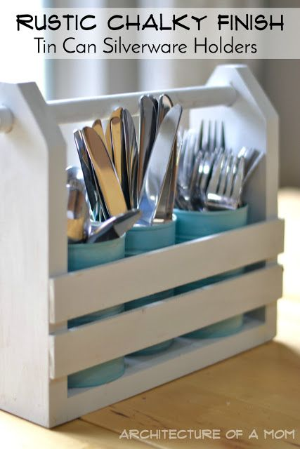 Shabby Chalky Finish Tin Can Silverware Holders - an easy and inexpensive DIY organization idea that will fit into your decor! All you need for this tutorial is a little paint and some items from your recycle bin and your kitchen will be more organized!