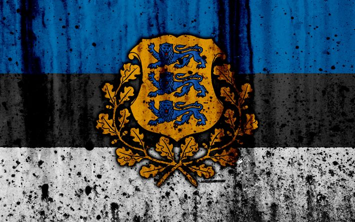 Download wallpapers Estonian flag, 4k, grunge, flag of Estonia, Europe, Estonia, national symbolism, coat of arms of Estonia, Estonian coat of arms