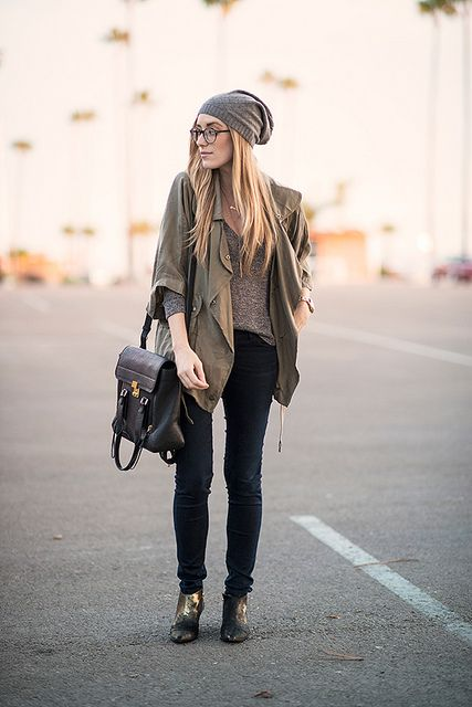black skinny jeans, grey sweater, olive jacket, grey beanie, black booties