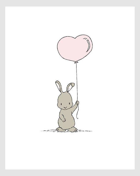 Woodland Nursery Art Bunny Heart Balloon by SweetMelodyDesigns