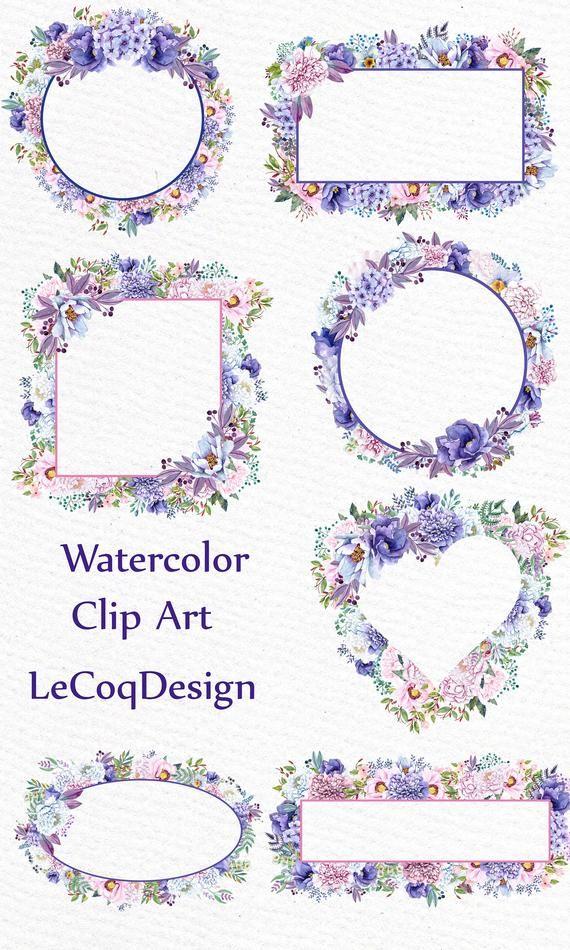 Watercolor Peonies Frames Clipart Watercolor Clipart Wedding