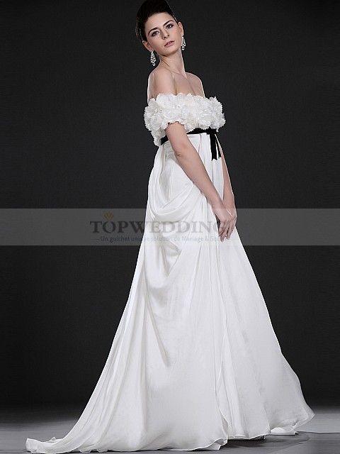 Vermilion - Épaule dégagée robe de mariée empire en mousseline de soie