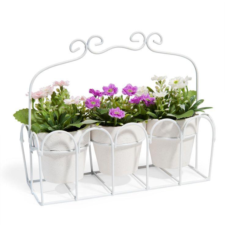 3 macetas con flores y estructura de metal Al. 15 cm