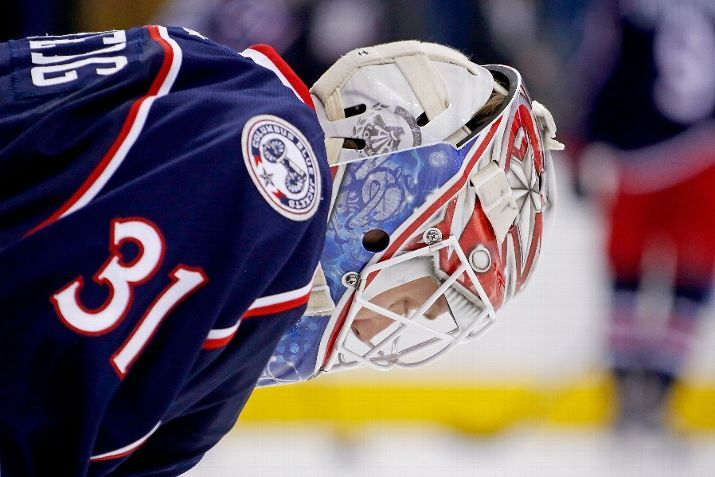 COLUMBUS, OH - JANUARY 5: Anton Forsberg #31 of the Columbus Blue Jackets warms up prior to the start of the game against the Minnesota Wild on January 5, 2016 at Nationwide Arena in Columbus, Ohio. (Photo by Kirk Irwin/Getty Images)