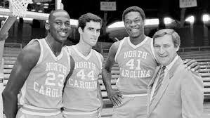 Michael Jordan,  Matt Doherty,  Sam Perkins and Dean Smith.