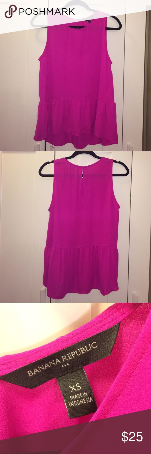 Banana Republic Factory Store hot pink peplum top Hot pink flowy peplum top from Banana Republic Factory Store. Only worn 1-2 times, in excellent condition. Banana Republic Tops Blouses