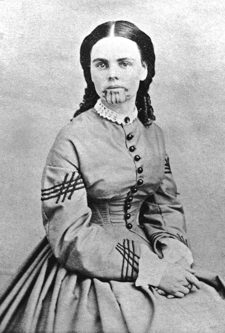 Olive Oatman (1837 – March 20, 1903). Olive Oatman and her family were traveling westward when they were attacked and killed by Native Americans. Olive and her sister Mary were captured as slaves and later traded to a group of Mojave Indians where the girls received their tattoos. #tribal #tattoo IMAGE: NATIONAL PORTRAIT GALLERY, SMITHSONIAN #tattoo