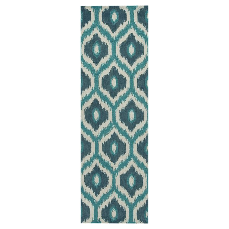 Rizzy Home Rockport Collection Hand-Tufted Blended Wool Runner Rug - Blue/Teal Trellis (2'6 x 8'), Off White