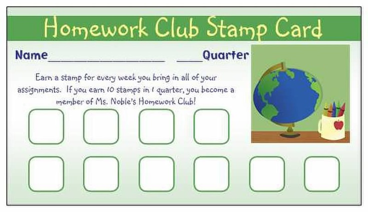 Homework club stamp card