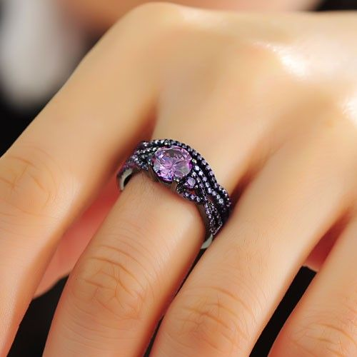 Purple Cubic Zirconia Black Women S Wedding Ring Set 925
