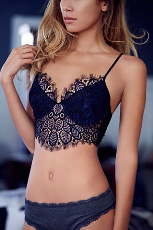 Penelope Underwire Bra | Free People Delicate crochet lace underwire bra with statement eyelash lace trim.