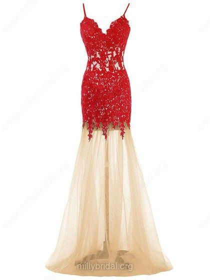 Trumpet/Mermaid V-neck Tulle Floor-length Appliques Lace Wholesale Prom Dress