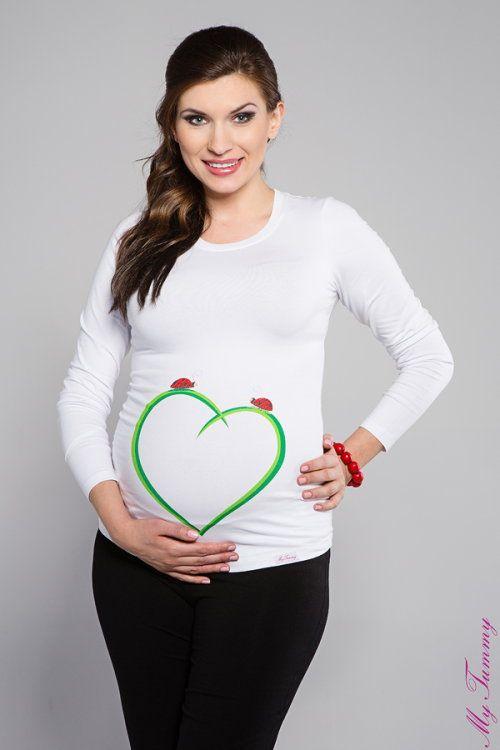 Maglietta premaman Cocinelle su un cuore bianca