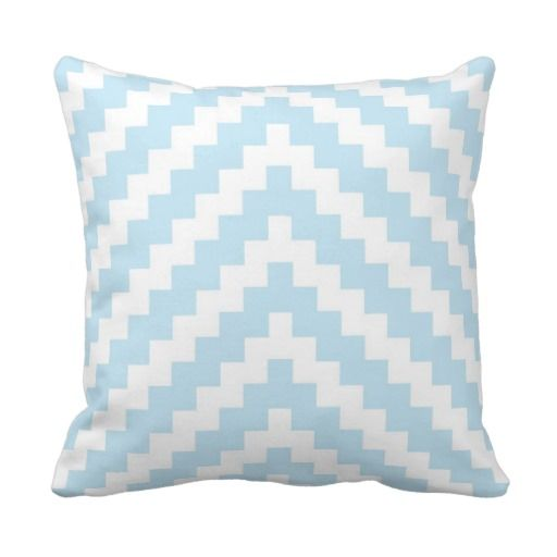 Baby Blue Decorative Pillow : Aztec Zigzag in Baby Blue and White Throw Pillow Aztec, Baby blue and Blue and
