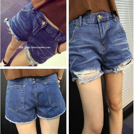 Сими дома до 2014 весной и летом Европейский ног простые свободные дикие изношен отверстие джинсы женские шорты - Taobao
