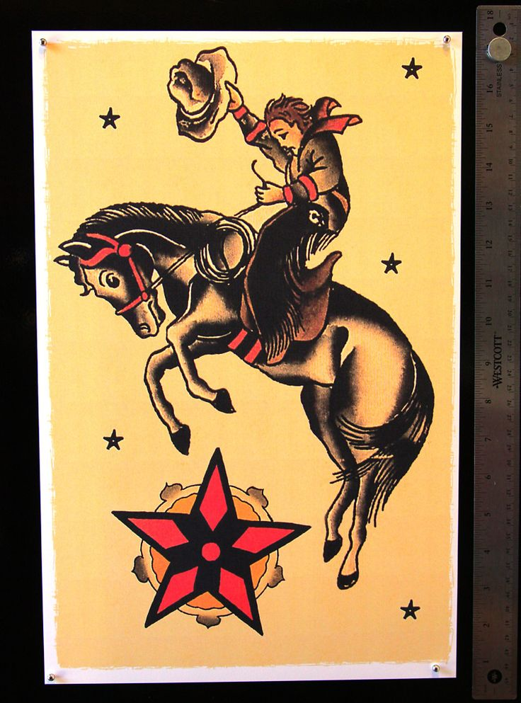 New School Horse Tattoo: Old School Bucking Horse With Cowboy