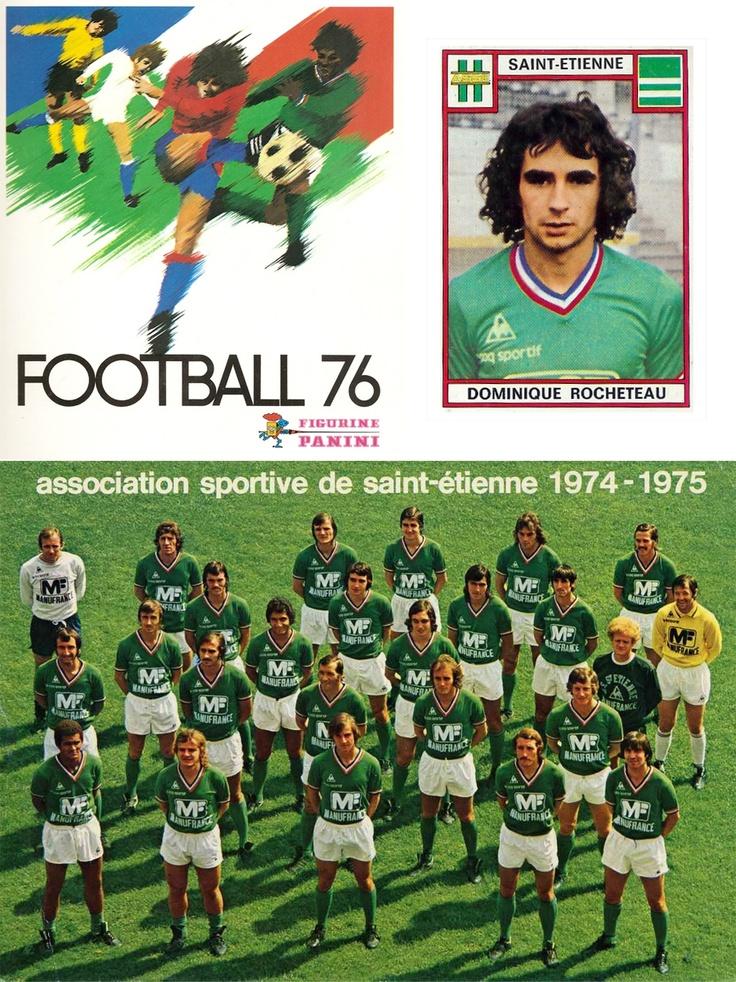 """Saint-Etienne / Les verts  1976 on collectionnait les images panini. Je ne comprenais pas grand chose au jeu mais ils avaient de la tenue, et étaient """"verts""""avant l heure!"""