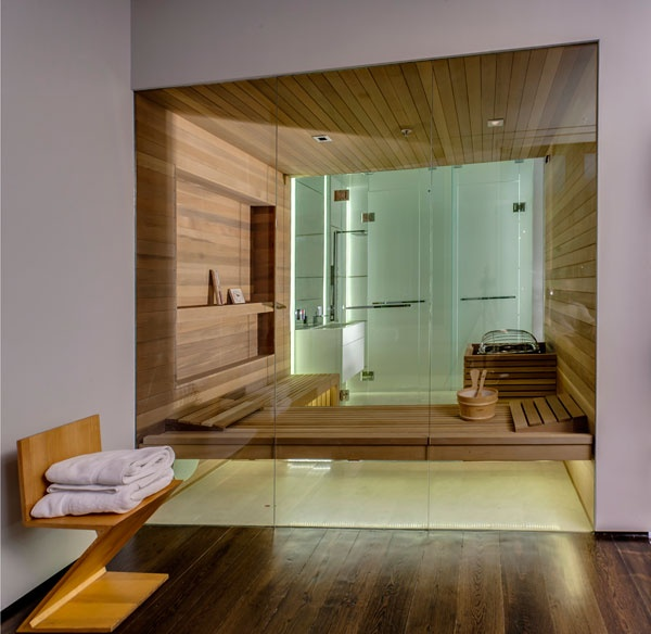Bathroom of clodagh designed house enveloping the users in a comforting womb of wood