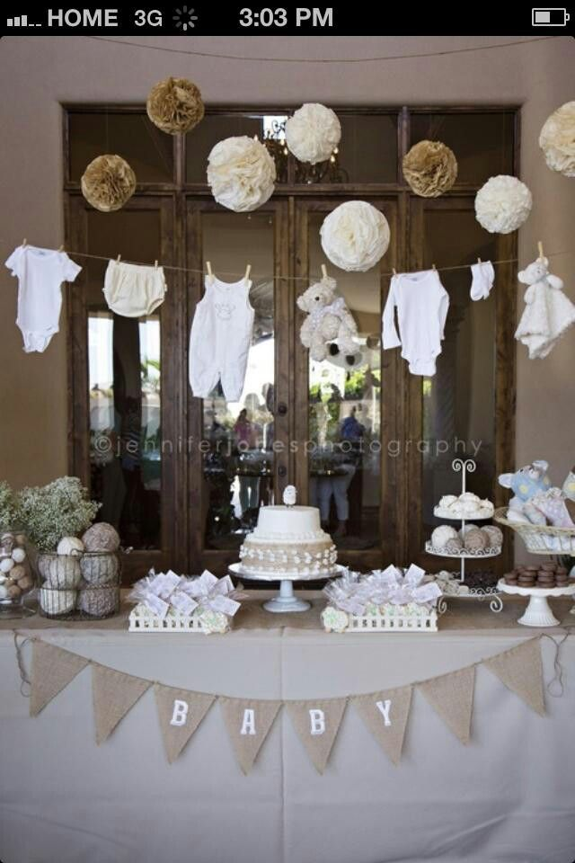 neutral baby shower add some brown teddy bears for a teddy bear theme