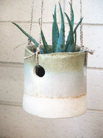 savannah hanging planter by twpottery  Good idea to hang my yellow pots like this.