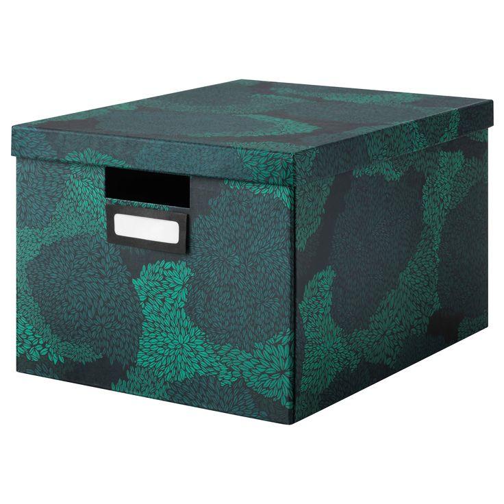 IKEA - TJENA Box with lid black-blue