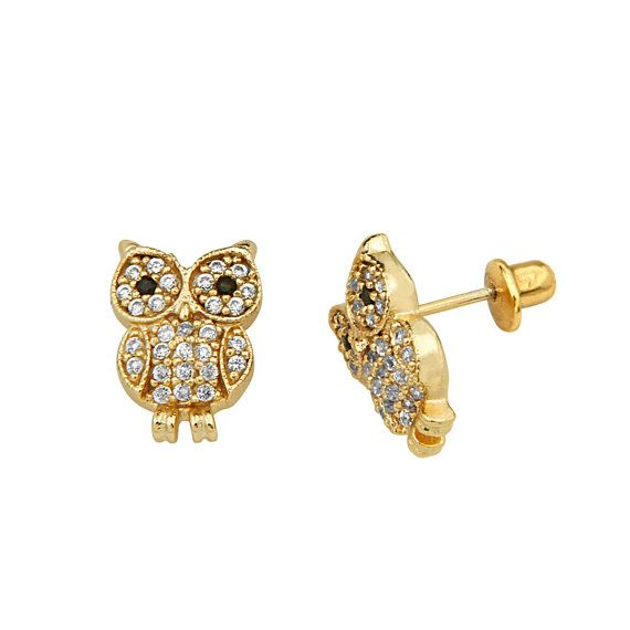 14K Yellow Gold Plated Owl Earrings for Babies by loveAring, $15.99
