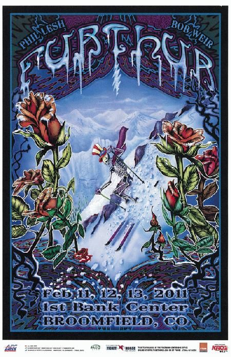 Concert poster for Furthur at The First Bank Center in Broomfield, Colorado in 2011. 11 x 17 inches. Artwork by Mike DuBois