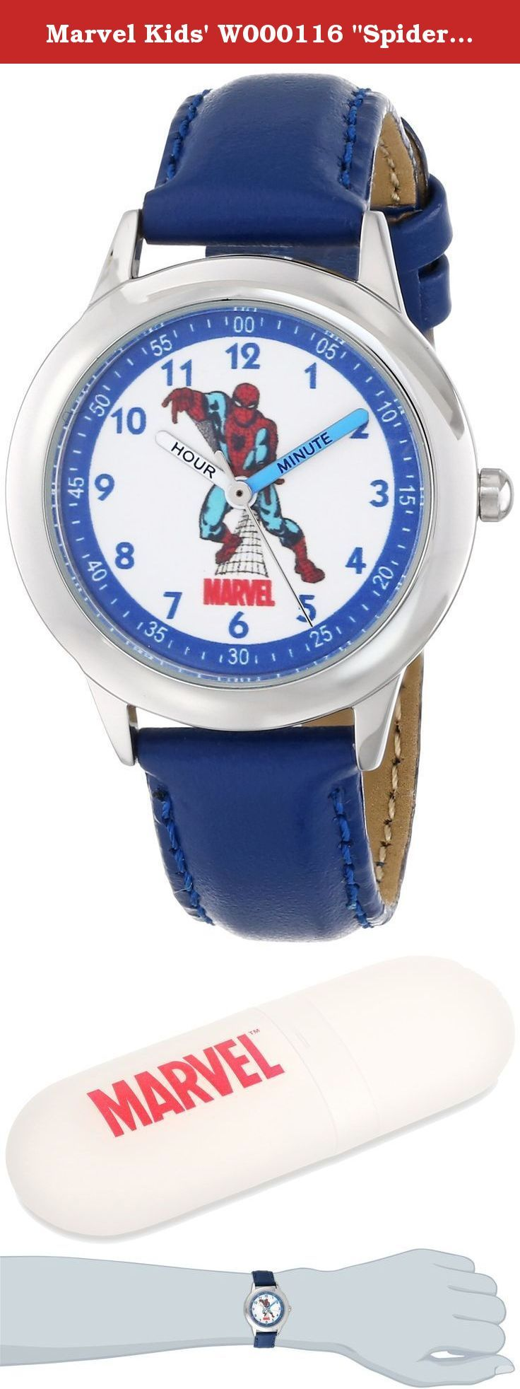 """Marvel Kids' W000116 """"Spiderman"""" Stainless Steel Watch with Leather Band. Keep track of time with this officially licensed marvel stainless steel kid's time teacher watch by ewatchfactory on your wrist. The timepiece displays artwork from your favorite marvel character on the face, and is designed with labeled """"hour"""" and """"minute"""" hands to help young ones learn how to tell time. This classic watch has a polished and matte steel finish and a precision japan movement for accurate time…"""