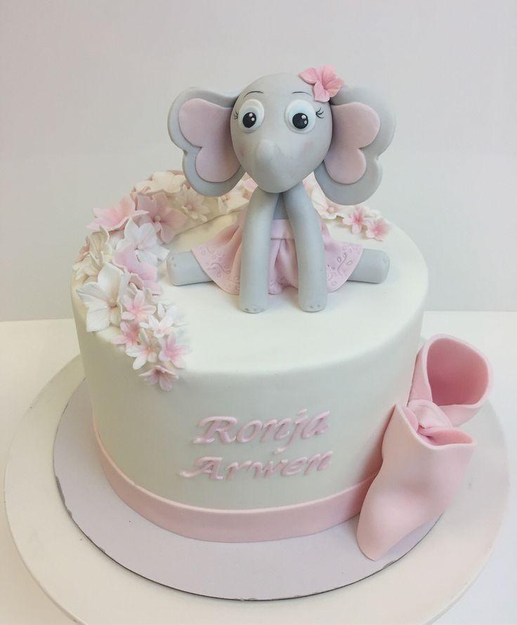 Ristiäiskakku, cake for a girl, christening cake , elephantcake