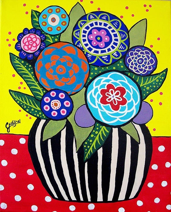 Am learning to paint whimsical flowers.  Folk art whimsical!