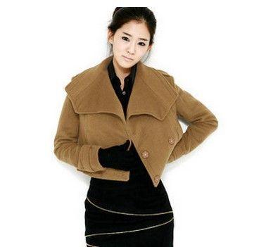 Шерстяное пальто женщин осень и зима 2015 новых короткий участок тонкий сплошной цвет кашемир шерстяные высокая талия куртки slim-типа женщина LI726