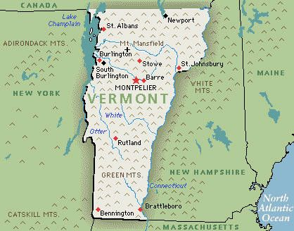 "Vermont - ""Vermont was a small town in some ways, spread thinly across a hilly map. It didn't take long for everyone to know your business. Fortunately, that was one of the aspects of living here he (Joe) cherished.""  Chat (2007). by Archer Mayor."