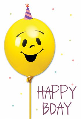 """""""Smiley Balloon"""" printable card. Customize, add text and photos. Print for free!"""