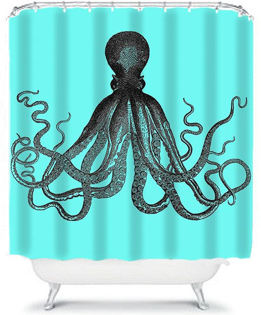 Blue Shower Curtain Nautical Octopus Bathroom by xOnceUponADesignx