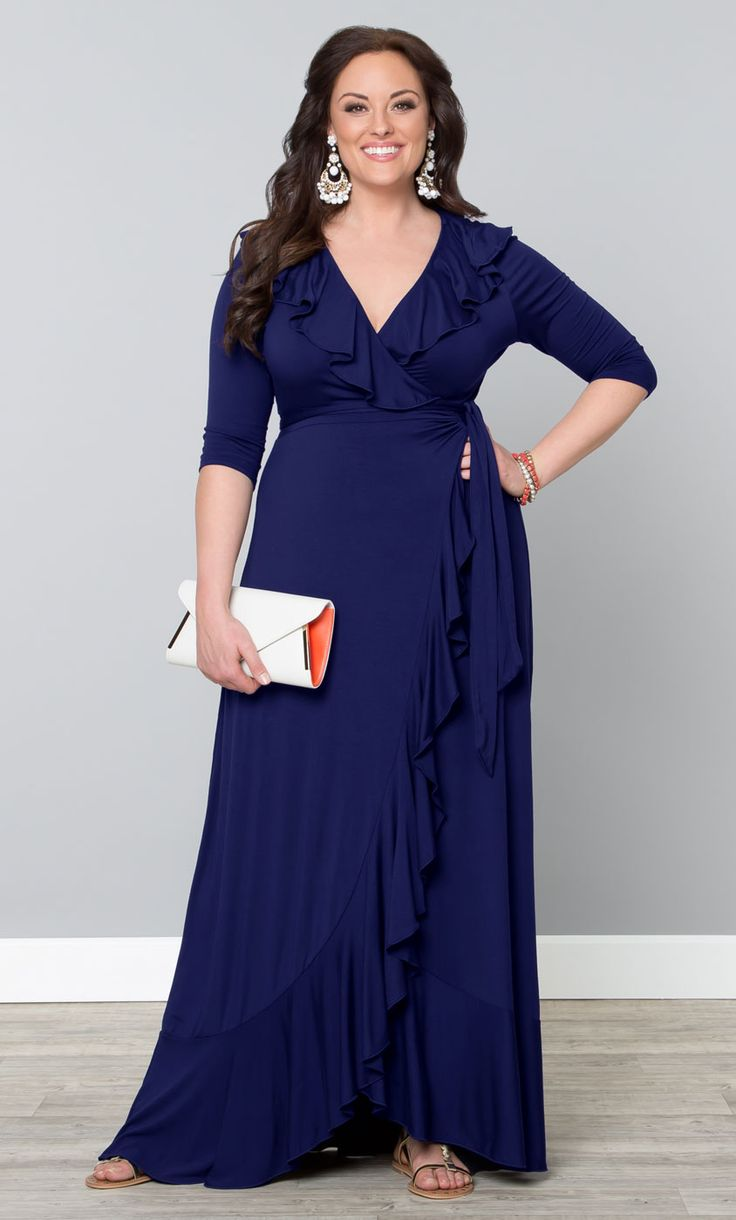 Our plus size Maritime Maxi Dress is all about easy style. This fully functional wrap dress will flatter every curve and the feminine flounce. Would like it shorter.