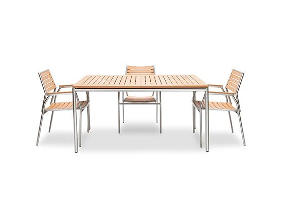 "Scandinavian Designs - Outdoor Furniture - Camelia Dining Table with Extension. Features a slatted table top with a hidden extension leaf inside, extending from 59"" to 82.5"".    $599 on sale"