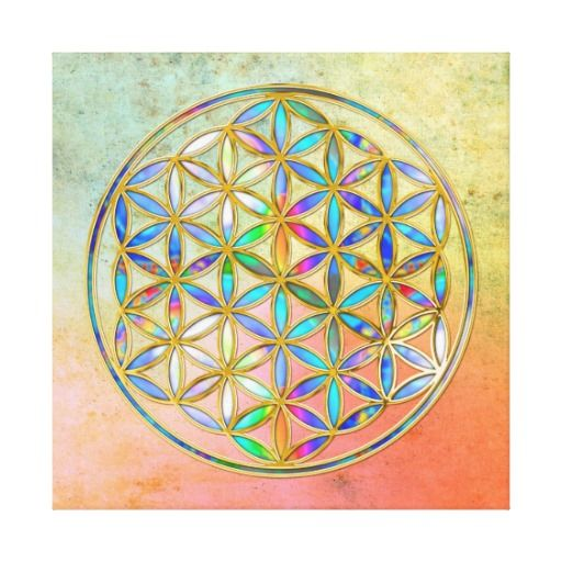 Flower of Life / Blume des Lebens - gold colorful