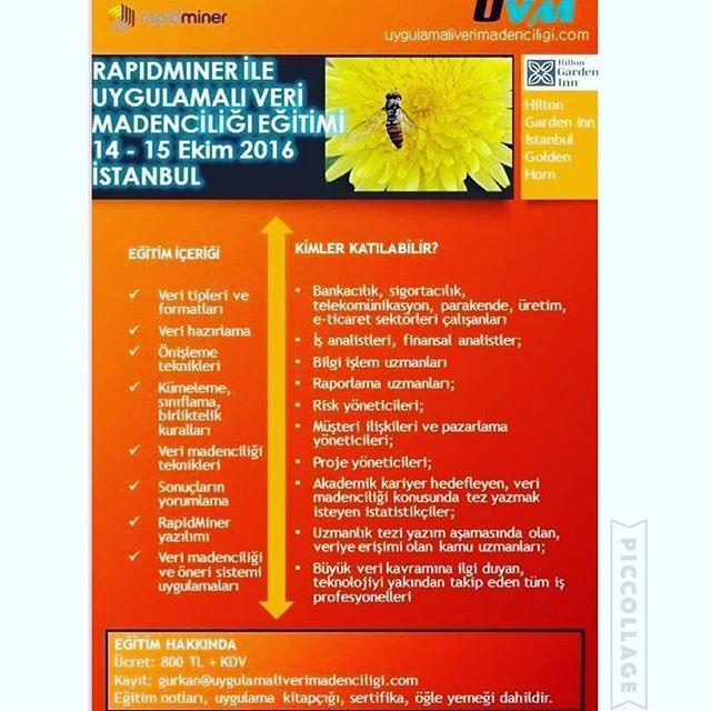 zpr IstanbulHilton Garden Inn Golden Horda, 14-15 Ekim tarihlerinde Veri Madenciligi Egitimi var 📊📈 Kesin bilgi yayalim 🎺😊 #datamining #verimadenciligi #egitim #training #parekende #banakacilik #analiz #sigortacilik #uretim #telekomunikasyon #eticaret #it #rapor #projeyonetimi #finans #analist #businessanalyst #financialanalyst #insurance #production #ecommerce #projectmanagement #finanace #analyst #istanbul #goldenhorn #hiltongardeninn